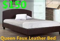 Brand new black faux leather platform bed frame warehouse sale  多伦多, M1S 3M5