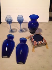 Blue Glass Vases and Decor
