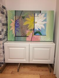 White and green wooden cabinet Mississauga