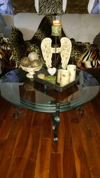 Wrought Iron &  Glass Table Set