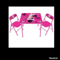 pink and white wooden table with chairs Delano