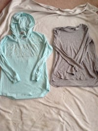 two gray and green pullover hoodies Edmonton