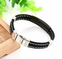 black and silver-colored leather bracelet Boston, 02127