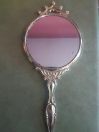 round gray mirror with handle Vanessa, N0E 1V0