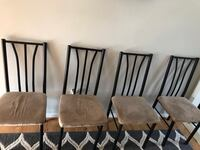 four brown wooden framed gray padded chairs Manassas, 20109