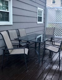 rectangular glass top table with four chairs patio set Watertown, 02453