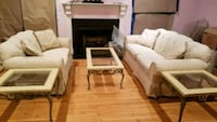 Cream Marble & Glass Coffee & End Tables Laurel