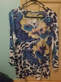 multi-colored floral long-sleeved shirt