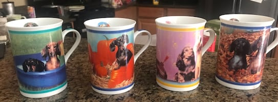 Danbury Mint porcelain Dashchund mugs