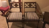 two brown wooden framed padded armchairs 370 mi
