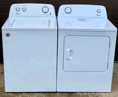 Amana washer dryer set, 12 month warranty