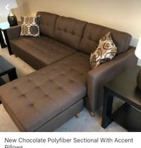 New chocolate polyfiber sectional with accent pillows, free delivery  Austin, 78730