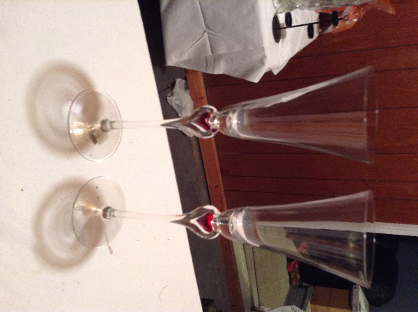CRYSTAL Heart champagne Flutes, great for Bride/Groom at wedding, or ENGAGEMENT gift $25