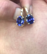 Real tanzinite gold over .925 earrings
