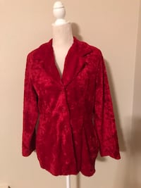 Red faux crushed velvet jacket - medium  Sellersville, 18960