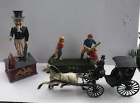 VINTAGE CAST IRON ITEMS. COIN BANKS, HORSE & BUGGIE. PRICES LISTED.   178 mi