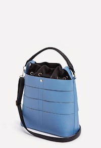 blue and black leather two-way drawstring bag