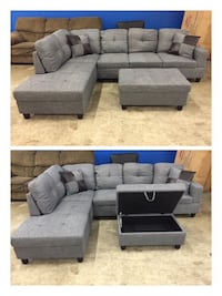 Brand new sectional set with storage ottoman