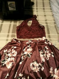 women's red and white floral dress Cadillac, 49601