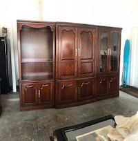 brown wooden TV hutch with cabinet Marrero, 70072