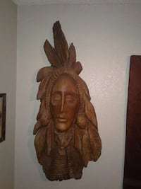 native American brown wooden wall decor