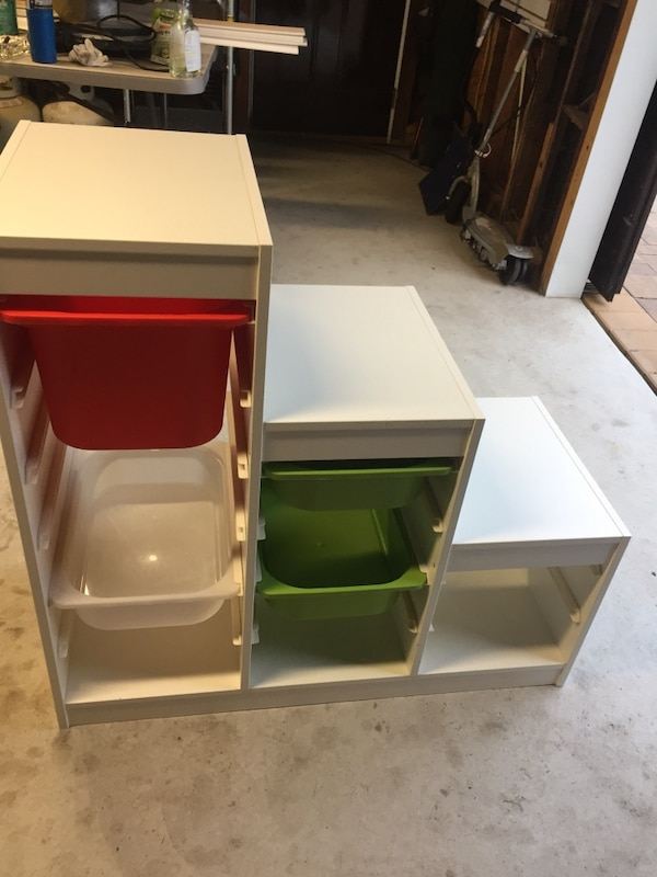 White Formica kids storage unit  Comes with 5 trays for toys  Excellent  condition  From IKEA