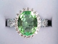 Oval cut Green Topaz and cz ring Baltimore, 21224