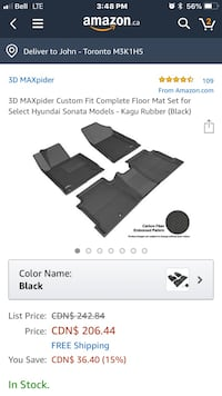 3D MAXpider Custom Fit Complete Floor Mat Set for  Hyundai Sonata Models - Kagu Rubber (Black Toronto, M6L