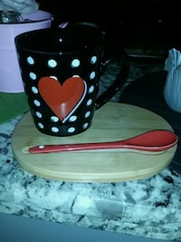 black and red polka dot ceramic bowl Hamilton