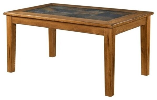 Solid Oak Dining Table with Slate Inlays