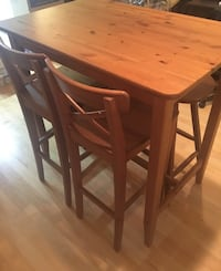 Wooden IKEA table 2 high top chairs, two bar stools Rockville, 20850