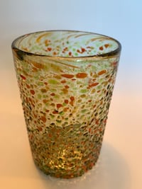 1 Green speckled Mexican glass beverage glass. Pick up in Etobicoke  Toronto, M9B 0A2
