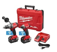 red and black Milwaukee cordless drill with case and WiFi connection NEW Surprise, 85388