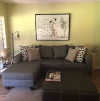 Gray fabric sectional couch with chaise 332 mi