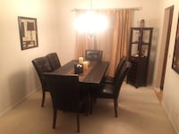 7-piece dining set: Genuine African slate stone dining table and 6 leather chairs Cedar Rapids, 52402