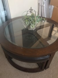 Round Glass Coffee Table with Wedge Seats Canyon Lake, 92587