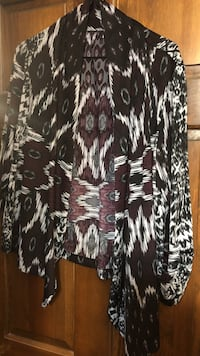 women's white, red, and black tribal cardigan