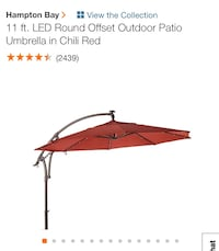 Hampton Bay outdoor LED umbrella and fireplace table