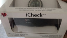 black iCheck heart rater monitor with chest strap in box