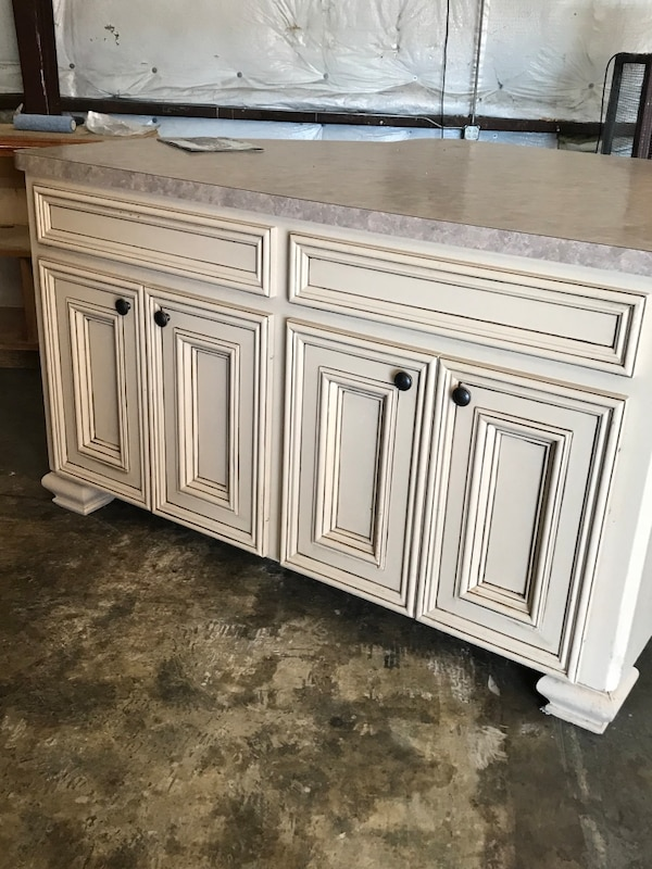 Used White wooden sideboard with cabinet pick up only for ...