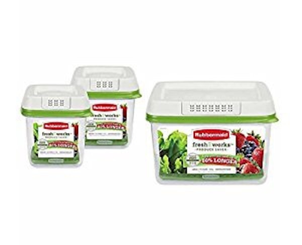 RUBBERMAID FRESHWORKS VEGETABLE STORAGE CONTAINERS NEW IN BIX
