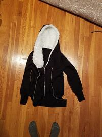 Black zip up hoody. Fur lined hood. Size Medium Demarest, 07627