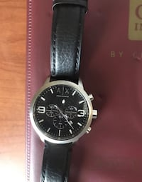 round silver-colored Armani Exchange chronograph watch