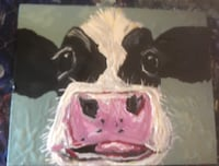 white and black cow painting