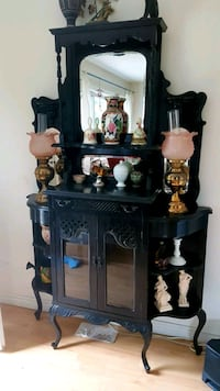 Antique Black Laquer Curio Display Cabinet