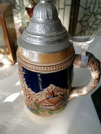 brown, blue, and grey ceramic beer stein Edmonton