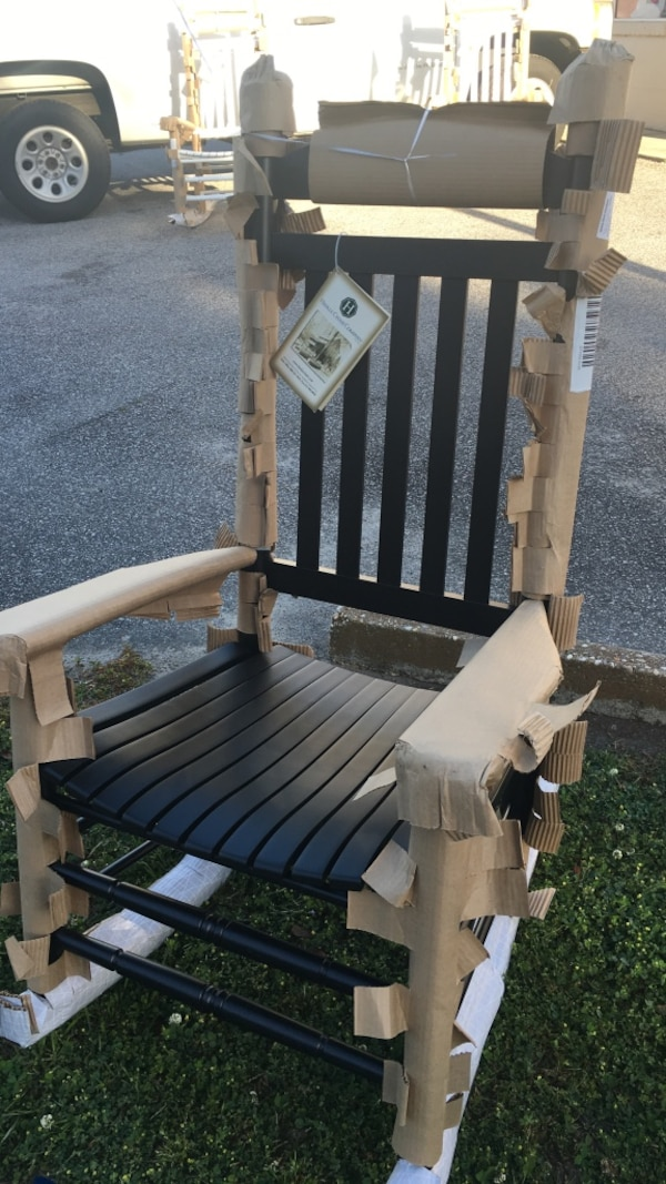 Terrific Used Hinkle White And Brown Wooden Rocking Chair For Sale In Andrewgaddart Wooden Chair Designs For Living Room Andrewgaddartcom