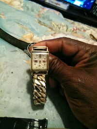 square gold-colored analog watch with link bracelet Cahokia, 62206