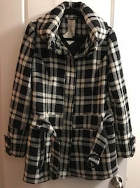black and white plaid button-up coat