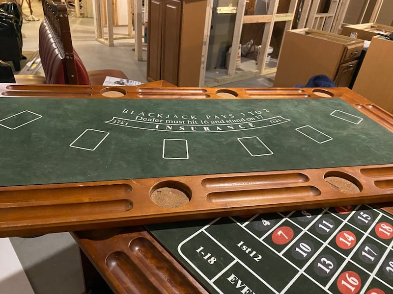 Solid Wood Bar & Casino Game Table w/ 2 matching leather bar stools 5ef4820f-273a-467d-a577-5e8fcc3d342e